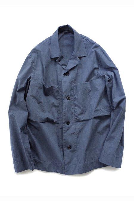 Still By Hand Melange Face Shirt Jacket - Blue