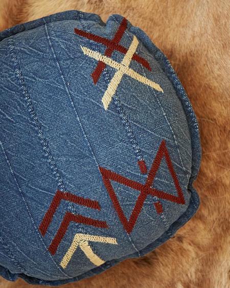Pony Rider Hieroglyphic Round Cushion - Deep Earth