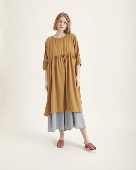 Revisited Matters Terrazza tunic dress in dark gold