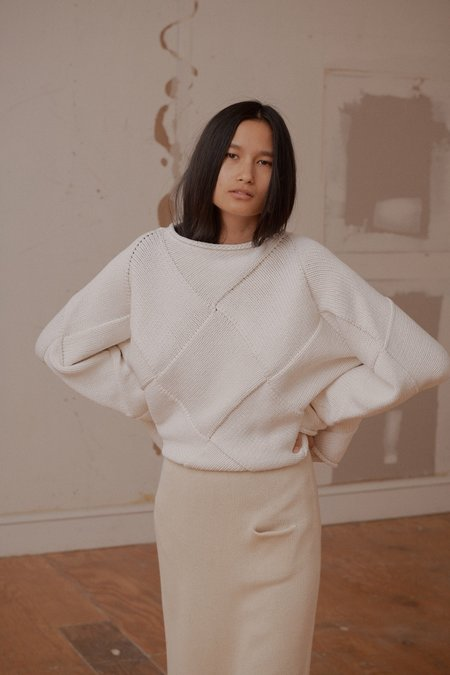 Lauren Manoogian Entrelac Cropped Sweater