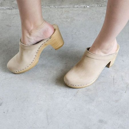 No. 6 Old School High Heel Clog - Bone