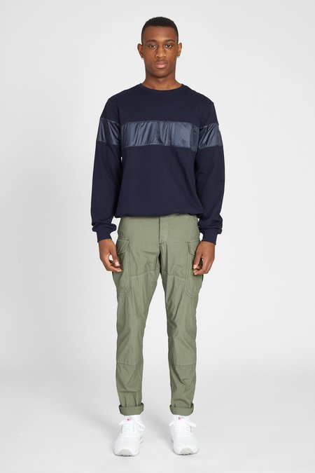 Paul & Shark FLEECE NYLON STRIPE SWEATSHIRT - NAVY
