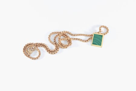 Legier Malachite Stone Signet Pendant & Necklace