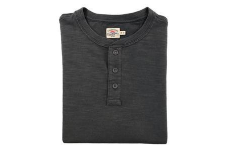 Faherty Brand Slub Cotton Henley - Charcoal
