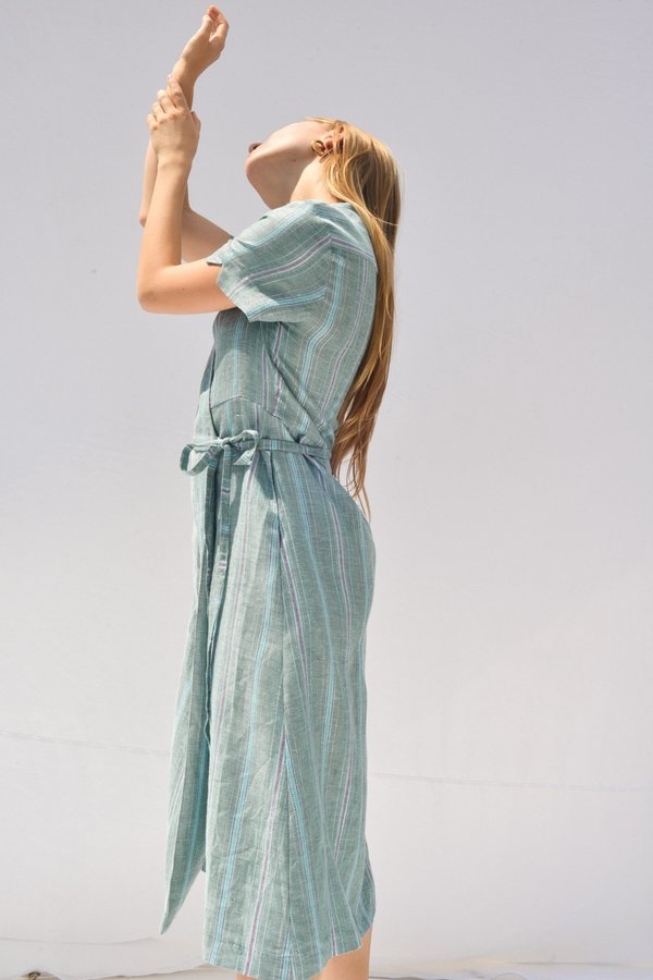 Nikki Chasin LEDA WRAP DRESS - METALLIC STRIPE
