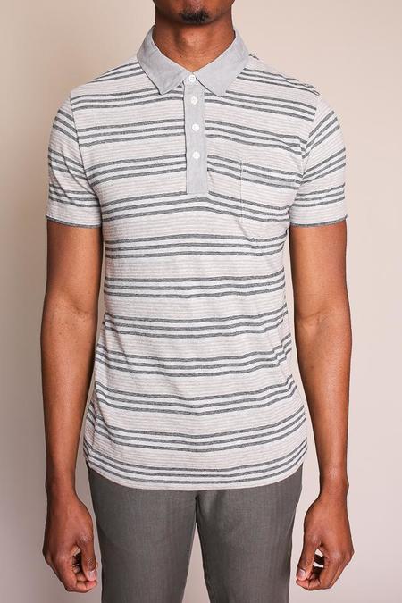 Billy Reid Cashmere Stripe Polo in Light Grey