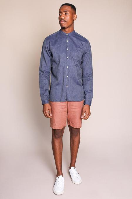 Oliver Spencer Grandad Shirt in Indigo
