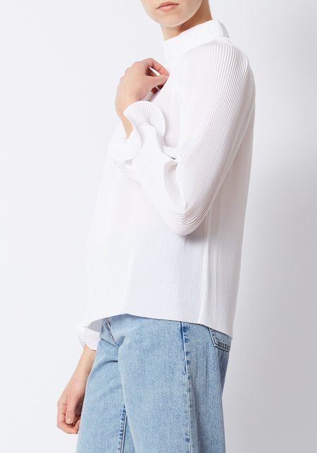Tibi White Pleating Top