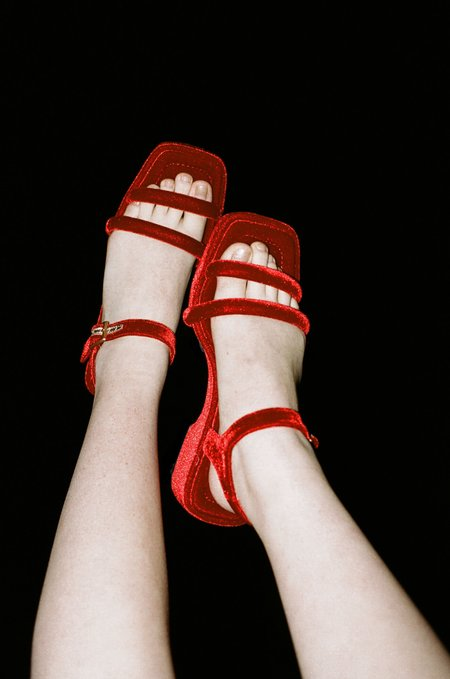 Suzanne Rae Puffy Strap Platform Sandal in Red Velvet