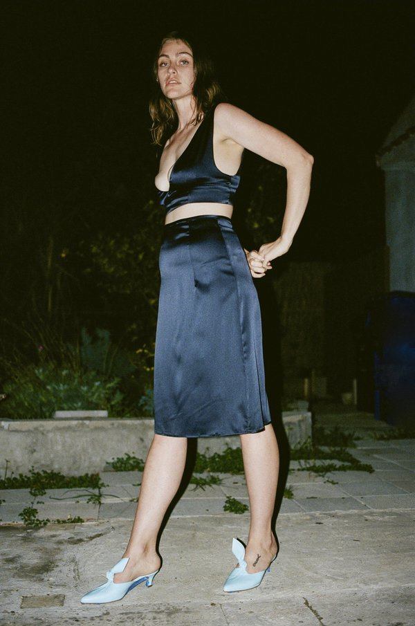 Suzanne Rae Slip Skirt in Navy Stretch Charmeuse