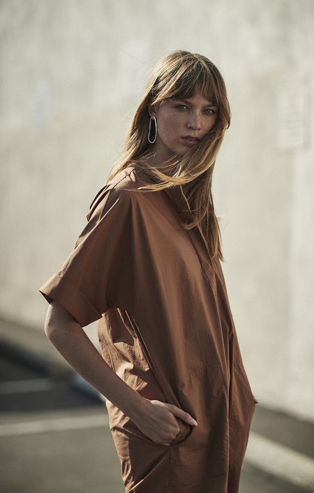 MIJEONG PARK LONG SHIRT DRESS - BROWN