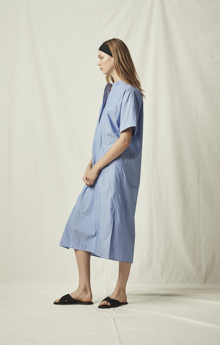 MIJEONG PARK LONG SHIRT DRESS - BLUE STRIPED