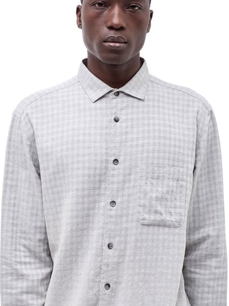 YMC Curtis Check Shirt in Light Grey
