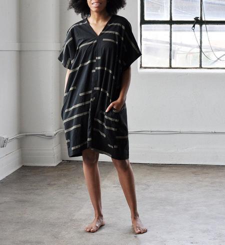 Uzi NYC Broken Stripes V-Dress - Black