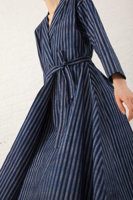 Natures of Conflict Wrap Dress - Blue Indigo Print