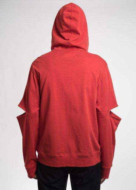Helmut Lang Red Slit Arm Hoodie