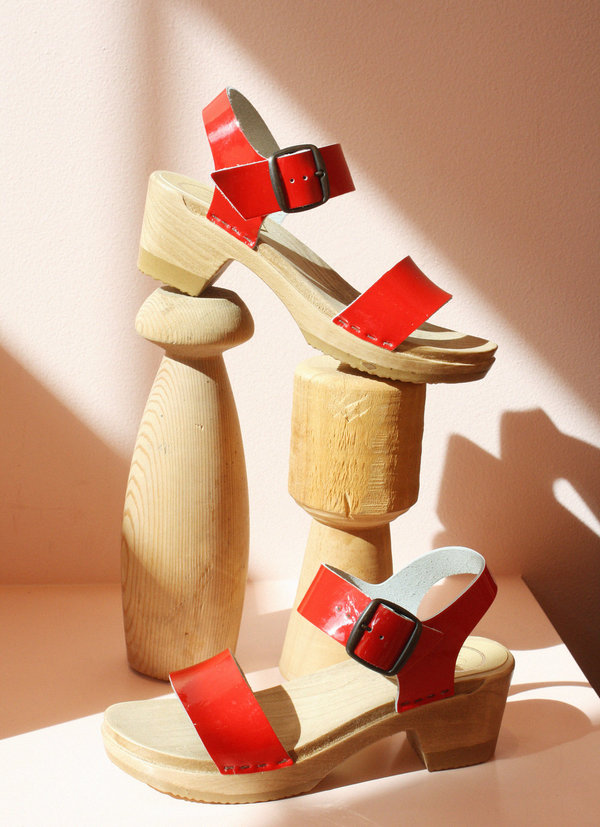 No.6 Two Strap Clog on Mid Heel in Red Patent