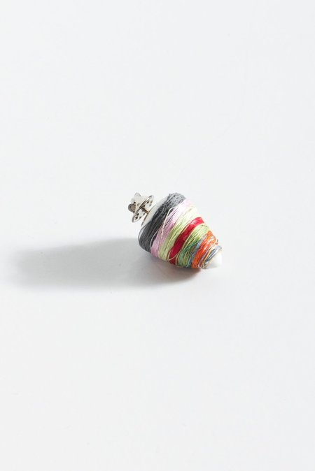 Monty J Ceramic Button Brooch - Thread Wrapped Multi