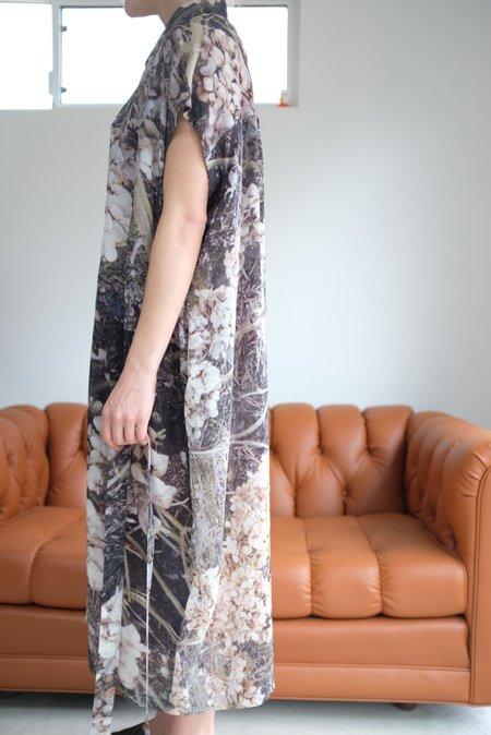 Anntian Silk Button Down Dress Floral Print Dry Flower