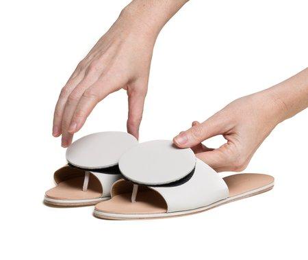 The Palatines caeleste slide sandal - lunar smooth / black pebbled leather