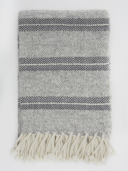 ELEVEN SIX MADRAS THROW - GREY & CHARCOAL COMBO