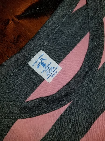 Velva Sheen Big Stripe S/S Tee w/Pocket - Pink/Charcoal