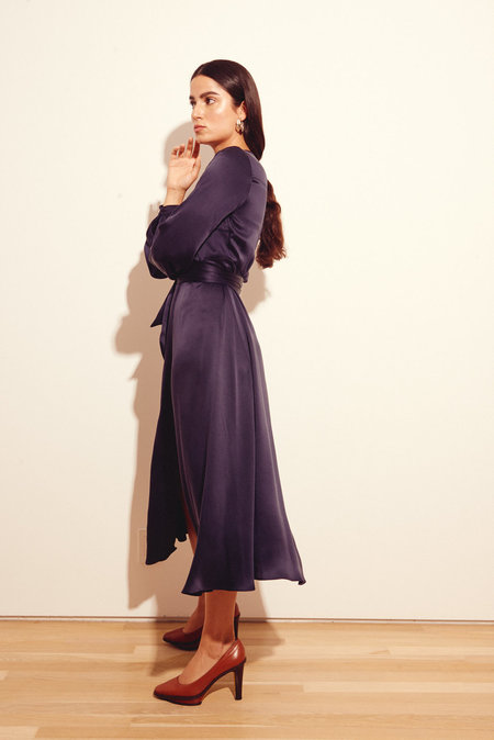 Kamperett Linden Silk Midi Wrap Dress - Midnight
