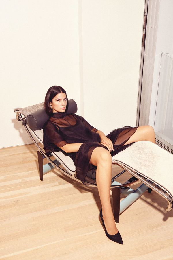 Kamperett Barre Silk Organza Dress - Black