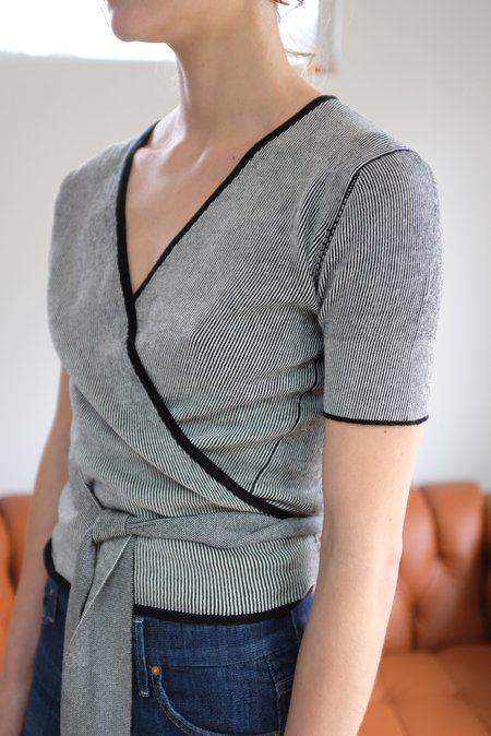 Beklina Cotton Knit Ballet Wrap - Black/White