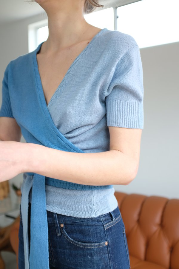 Beklina Cotton Knit Ballet Wrap - Two Tone Blue