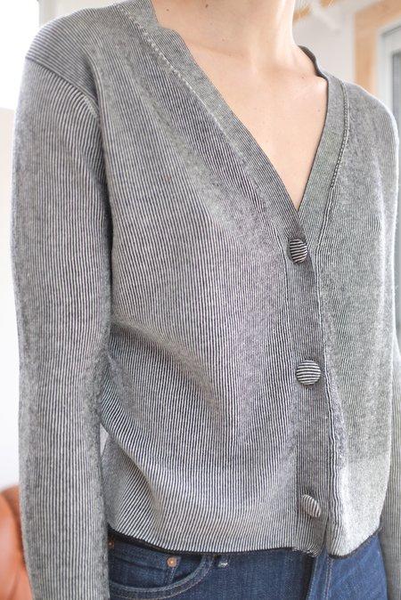 Beklina Cotton Knit Cardigan - Black/White
