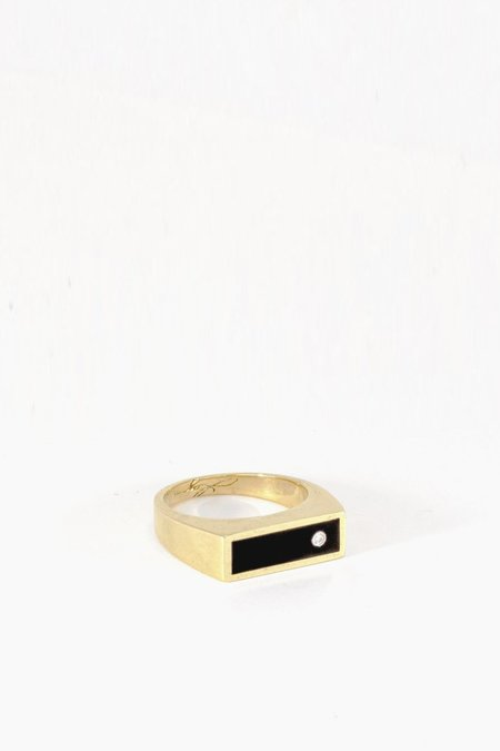 Legier Brass Black Onyx with Diamond Signet Ring - Classic