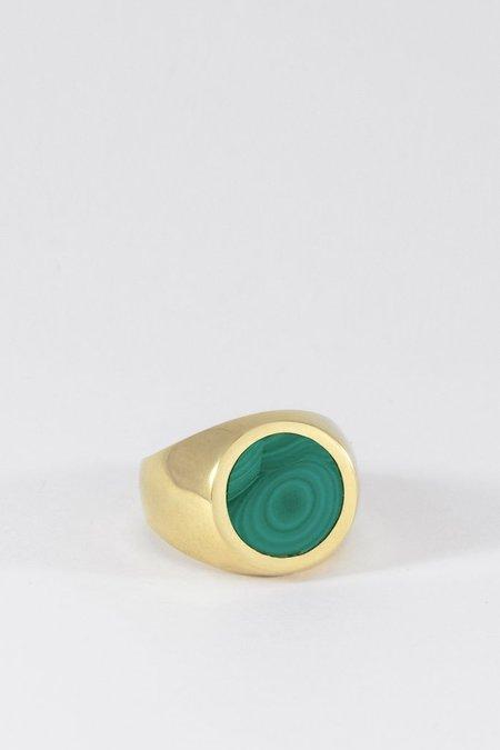 Legier Brass Malachite Signet Ring - Round