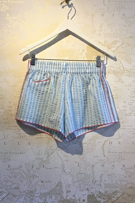 Morgan Lane Seersucker Cotton 'Betsy' PJ Shorts - Light Blue