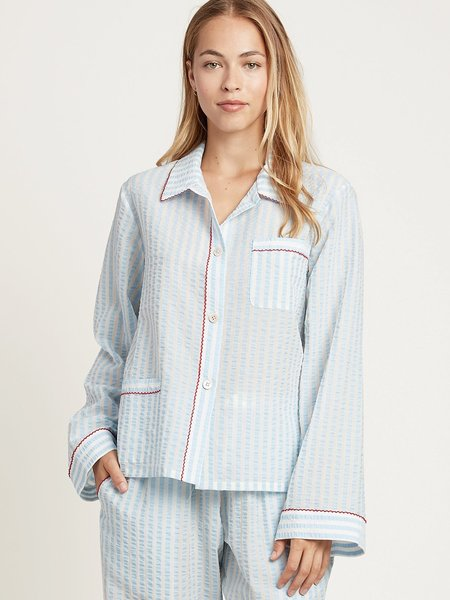 Morgan Lane Seersucker Cotton 'Ruthie' PJ Top - Light Blue