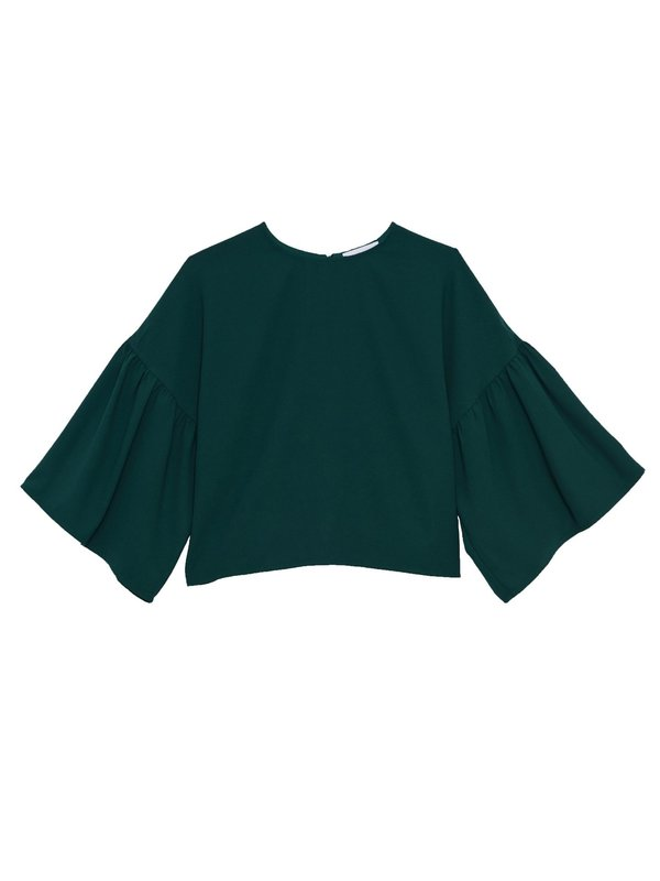 In God We Trust Tessa Blouse - Green Georgette
