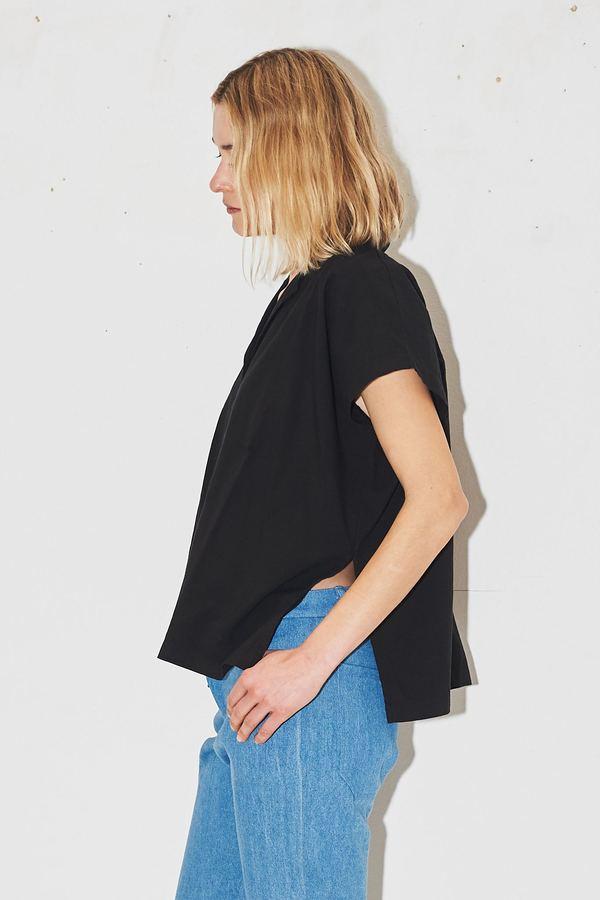 Black Crane Cotton Box Shirt - Black