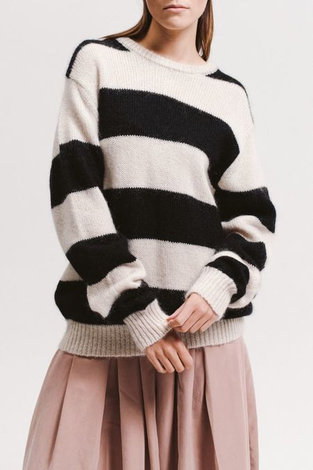 MAIDEN NOIR Mohair Knit Sweater - Black/White Stripe