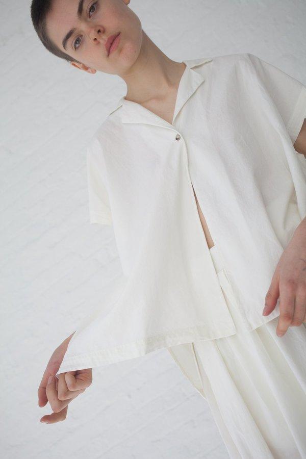 Black Crane Box Shirt - Cream