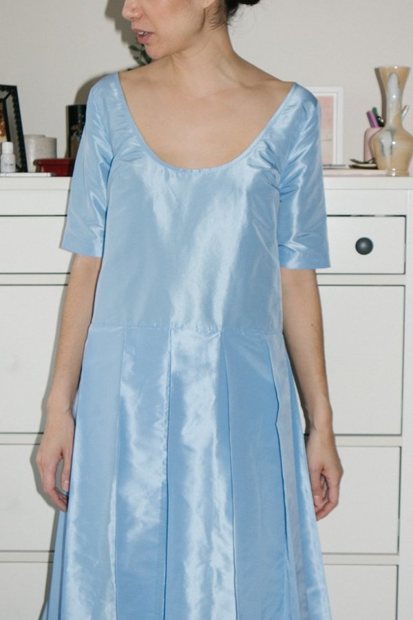 Suzanne Rae Pleated Skirt Dress - Powder Blue