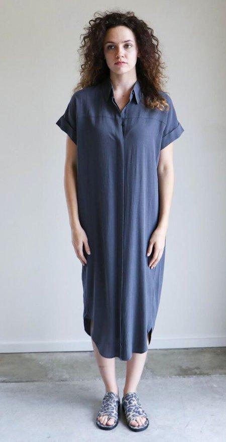 7115 By Szeki Button Down Shirtdress - Charcoal