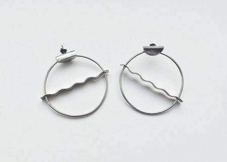 Sarah A. Sears Wavy Hoop Earrings - Silver