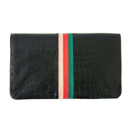 Clare V. Foldover Clutch in Black Soft Croco W/Emerald, Red And BlushGolfa Desert Stripes Patchwork