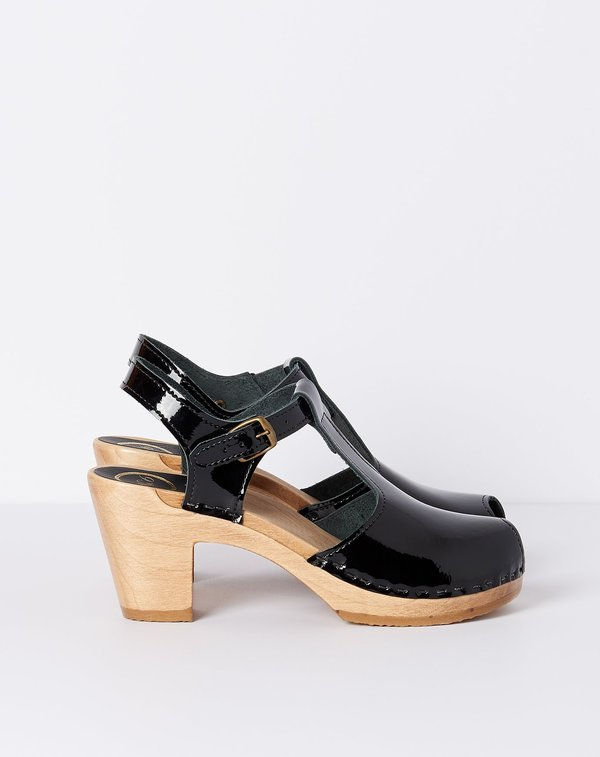 No.6 Caitlin T Strap Peep Toe on High Heel - Black Patent