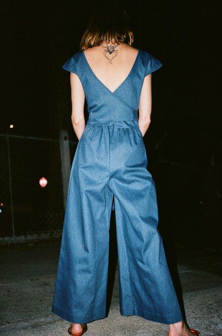 No.6 Diana Wrap Jumpsuit - Blue Denim