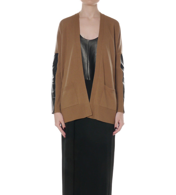 Mason By Michelle Mason Camel Wool and Cashmere Leather Sleeve Cardigan