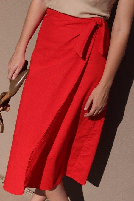 Avenue tie wrap skirt - tomato
