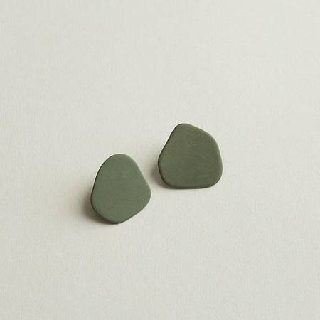 Four Eyes Ceramics Blob Earring - Green