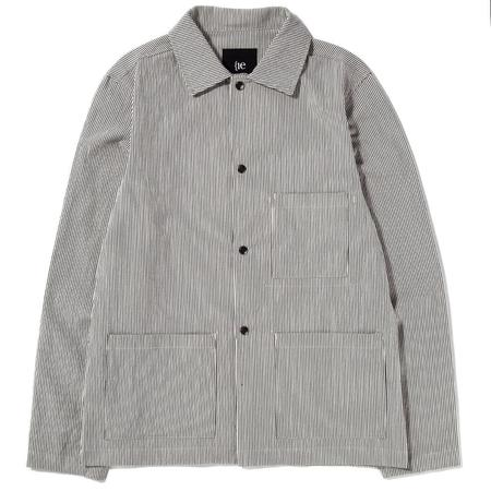 {ie Utility Jacket - Beige/Hickory Stripe