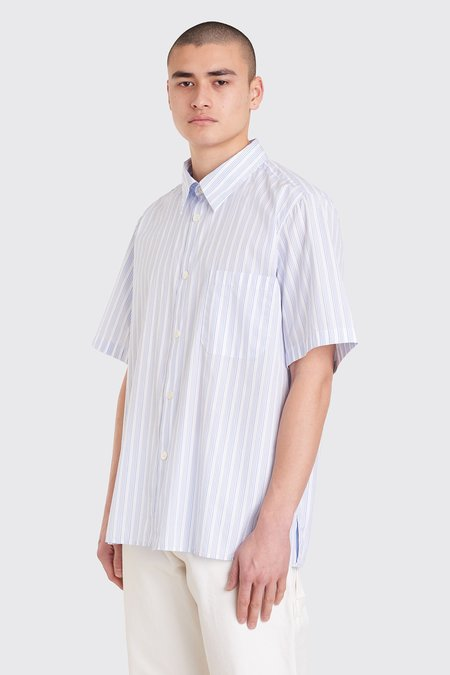 Tres Bien Tourist Poplin Shirt  - Big Stripe White/Blue